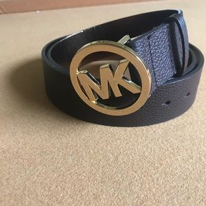 Brown leather authentic MK belt